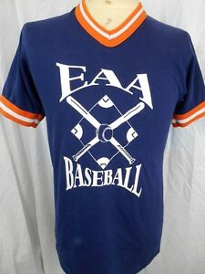 Vintage 80's Blue Orange PolyCotton USA Baseball Collegiate Tight fit T-shirt S