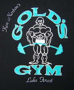 Vtg 90s Golds Gym Lake Forest USA Shirt XL Black Neon Workout Graphic Tee Muscle