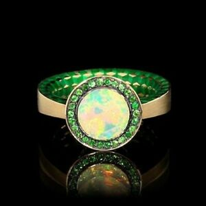 GOLD Ring KALEIDOSCOPE 18K Y/ Opal 1,54 CT Tsavirites Enamel New MOUSSON ATELIER