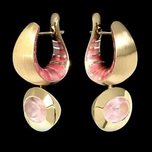 MOUSSON ATELIER KALEIDOSCOPE EARRINGS 18K Y/ GOLD Pink quartz, Enamel BRAND NEW