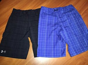 NWOT Boys Under Armour Golf Shorts Size Youth Medium YMD Black Blue Plaid