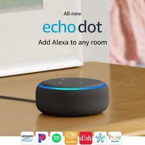 Amazon Echo Dot 3rd Gen Latest 2019 Charcoal Black with Alexa NEW SEALED