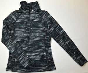 Under Armour 1287 Athletic Womens Cozy Printed 12 Zip Shirt Sports Black White