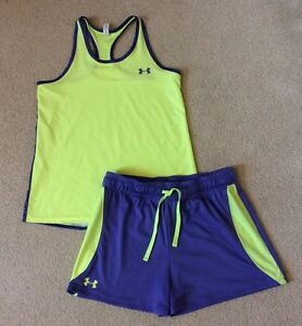 Girls Under Armour Shorts Set Tank Top And Shorts Loose Fit  Purple Yellow YXL