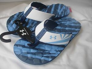 NWT - Under Armour Blue and White flip Flops - Boy size 2