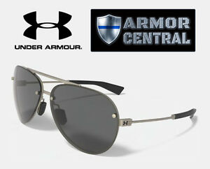 NEW Under Armour Double Down Sunglasses - Satin Gunmetal Frame  Gray Lens