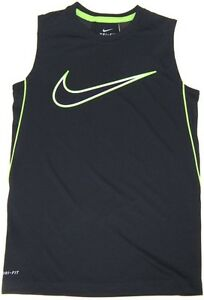 Nike Dri Fit Boy's Training Tank Top Muscle Shirt  NWT   Small   Black w Green