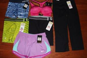 LOT NIKE & UNDER ARMOUR WOMENS CAPRIS SHORTS SPORTS BRA UA STUDIO MID 5