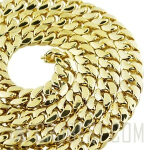 Mens Choker Necklace Miami Cuban Link 14K Gold Plated 14mm 18