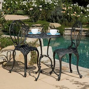 New Elegant 3 pc Outdoor Patio Bistro Set Metal Copper Color Weather Resistant