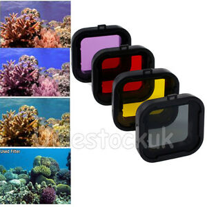4PCS For Gopro HERO Camera Sea Water Diving Lens Filter Red Yellow Grey Purple