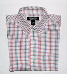 Brooks Brothers Men's Red Blue Plaid Long Sleeve Sport Shirt Size Large