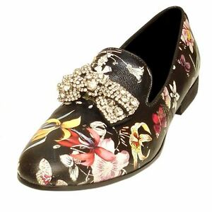 Fiesso Men Black Leather Crystal Sequin Buckle Floral Design Dress Slip On Shoe