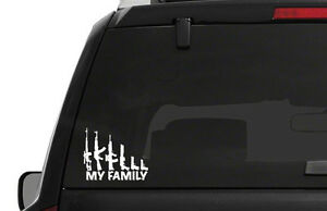 Gun Weapon MY FAMILY Decal Window Bumper Sticker 2 Sizes AK47 PRO 2ND NRA