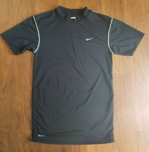 NIKE Pro Black Fit Dry Compression Shirt Short Sleeve Boys Size XL Performance