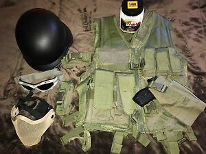 Airsoft Ready To Play Vest HelmetGogglesMask And Ammo