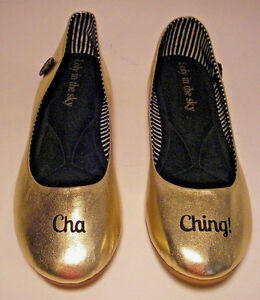 LOLY IN THE SKY Cha Ching! Golden Ballet Flats Shoes Women's Sz 7.5 EUC