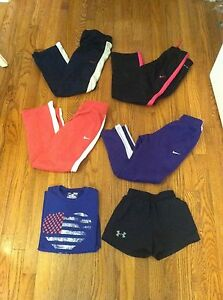 6 Nike Under Armour youth size small athletic pants lot shorts t-shirt girls YS