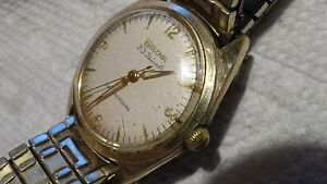 Vintage 10k RGP Mens Bulova 23j watch selfwind runs w stretch bracelet M11961