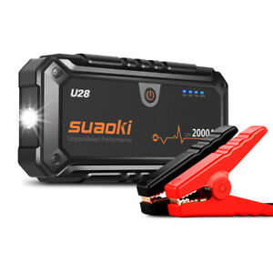 Suaoki U28 2000A Peak Jump Starter Power Bank LED Battery Clamps For Car Boat US