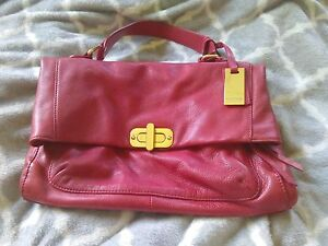 TARNISH for Nordstrom rich red Buttery Soft Leather Flap Handbag Satchel Purse