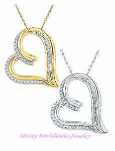 10K Gold Beautiful White Diamond Floating Heart Stunning Necklace Pendant .17Ct