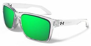 Under Armour Assist Sunglasses Shiny Crystal Clear Frame Gray w Green ML Lens