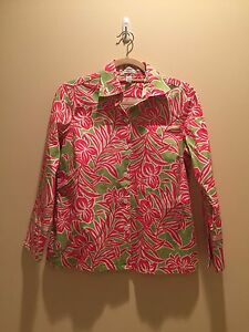 IZOD Stretch pink and green tropical patterned blouse Women's size M