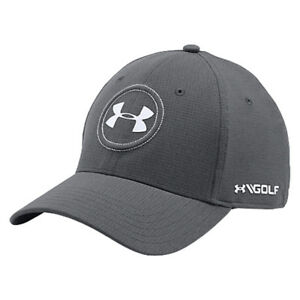 New Jordan Spieth Under Armour Tour Cap 2.0 Fitted HatCap- GraphiteWhite- SM