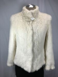 RARE AWESOME WARM U S  NATURAL WHITE MINK FUR KNITTED LADY JACKET FREE SHIPPING