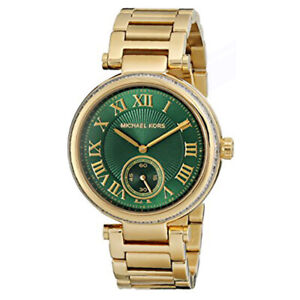 New Michael Kors MK6065 Skylar Green Dial Gold Bracelet Women's 41mm Watch