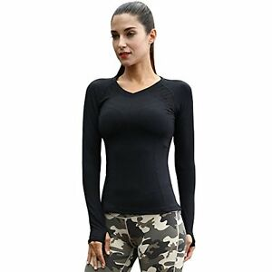 Women's Yoga Gym Running Workout Sports Quick Drying Tee Long Sleeve Shirt For S