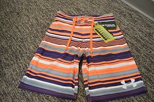 NWT UNDER ARMOUR NEON STRIPE BOYS SWIM SUIT SURF SHORTS TRUNKS BOARDSHORTS 26