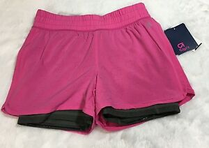 Gap Fit Girls Size L Pink Gray Layered Dry Wicking Shorts Athletic NWT