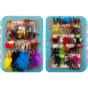 94pcsbox Dry Wet Fly Fishing Lures Assorted Dry Flies Kit Bass Trout Tackle Set