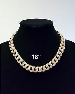 ICED OUT CHOKER NECKLACE GOLD PLATED MIAMI CUBAN LINK HIP HOP MEN'S HEAVY CHAIN