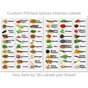 60 KITCHEN SPICES HERB JAR BOTTLES FOOD ILLUSTRATED PRINTED STICKERS LABELS