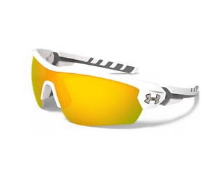 UNDER ARMOUR RIVAL SUNGLASSES - SATIN WHITE & CHARCOAL GRAY - ORANGE TINT LENS