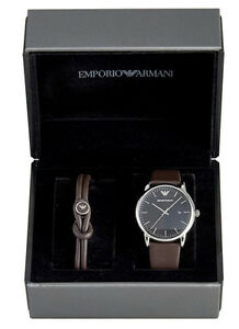 Emporio Armani Luigi Brown Leather Men Watch and Bracelet Gift Set AR80008 New