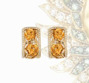 Magerit Versailles YELLOW GOLD 18KT AND PAVÉ DIAMOND EARRINGS ROSAS BIG new