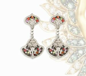Magerit Versailles WHITE GOLD 18KT DIAMONDS SAPPHIRES AND PERIDOTES EARRINGS