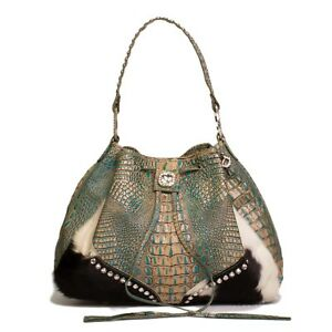 Raviani Turquoise Croco Leather Handbag W Brindle Drawstring W Crystals