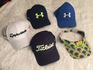 Lot of 5 Golf Hat Cap VisorLoud Mouth TaylorMade Titleist Footjoy Under ARMOUR