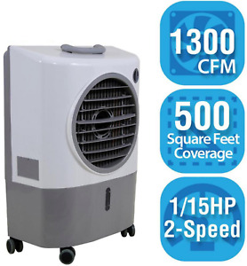 Portable Evaporative Swamp Cooler 1300 CFM Outdoor 2 Speed Air Flow Ventilation