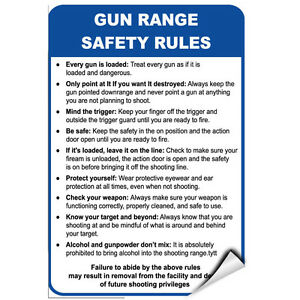 Gun Range Safety Rules Every Gun Is Loaded Security Sign LABEL DECAL STICKER