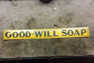 Vintage Embossed Good Will Soap Sign Antique Goodwill M C A Sign Co. NOS