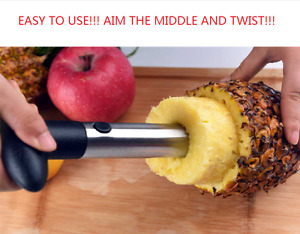 PINEAPPLE CORE CUTTER STAINLESS STEEL Kitchen Tool Slicer Peeler EASY TO USE