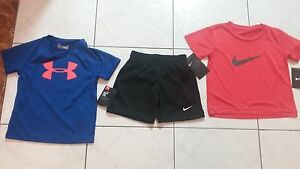 NWT size 2T BOYS Under Armour & Nike Lot of three. shorts + t-shirt tops
