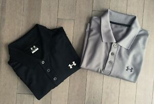 UNDER ARMOUR Polo Shirt Lot Size XL Athletic Heat Gear Loose-Black