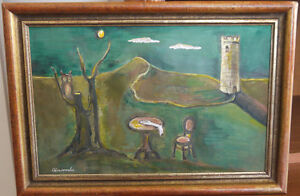 SURREALIST FRAMED GOUACHE PAINTING SIGNED ABERCROMBIE